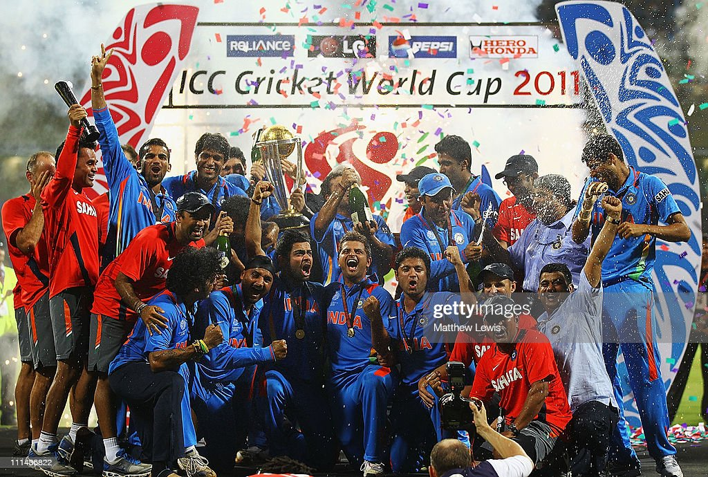 India celebrate winning the trophy, after beating Sri Lanka during the 2011 ICC World Cup Final between India and Sri Lanka at the Wankhede Stadium on April 2, 2011 in Mumbai, India.