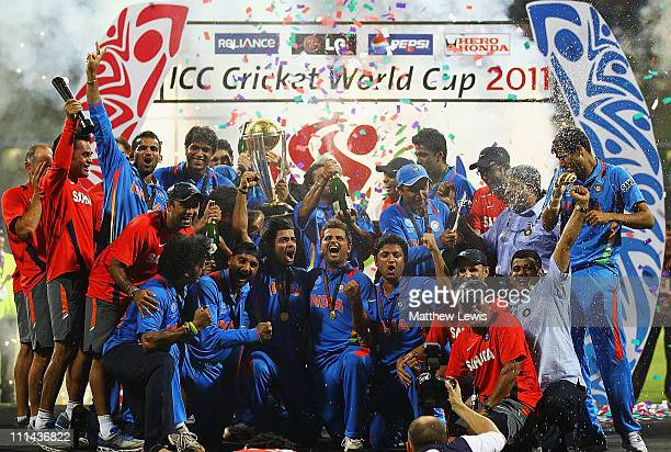 India celebrate winning the trophy after beating Sri Lanka during the 2011 ICC World Cup Final between India and Sri Lanka at the Wankhede Stadium on...
