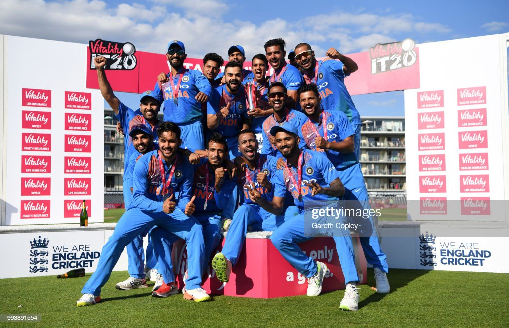India celebrate winning the Vitality International T20 series between England and India at The Brightside Ground on July 8, 2018 in Bristol, England.