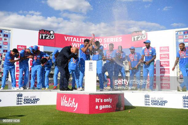 India celebrate winning the Vitality International T20 series between England and India at The Brightside Ground on July 8 2018 in Bristol England