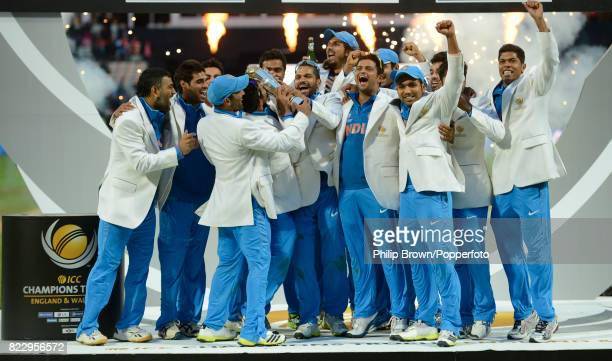 India celebrate with the trophy after they won the ICC Champions Trophy Final between England and India at Edgbaston Birmingham 23rd June 2013 India...