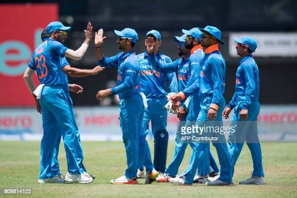 India celebrates after finishing the first half during the fifth One Day International match between West Indies and India at the Sabina Park Cricket...