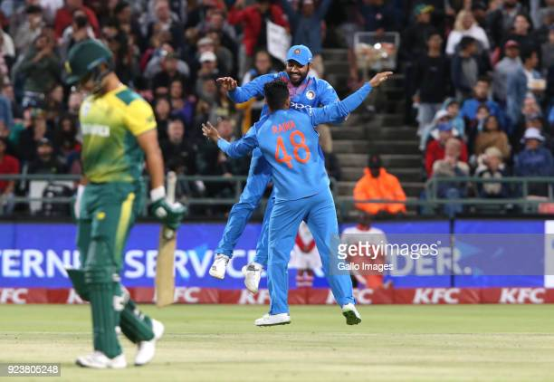India celebrates the wicket of David Miller of South Africa during the 3rd KFC T20 International match between South Africa and India at PPC Newlands...