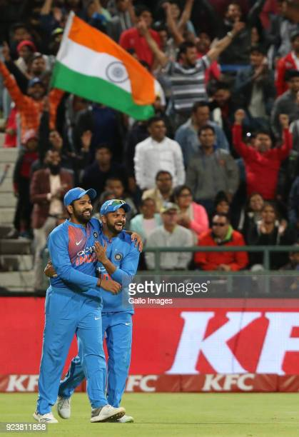 India celebrates the wicket of South African captain JP Duminy during the 3rd KFC T20 International match between South Africa and India at PPC...