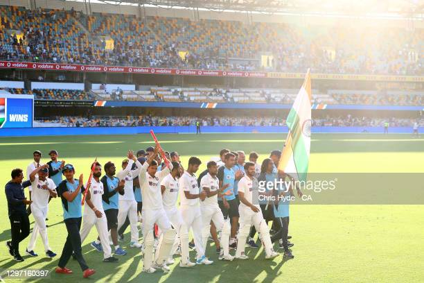 India celebrates victory with his team mates during day five of the 4th Test Match in the series between Australia and India at The Gabba on January...