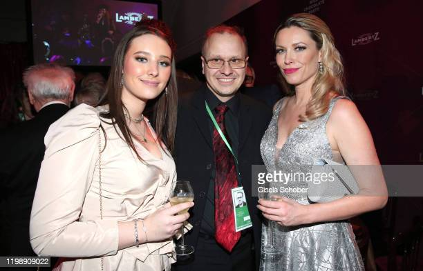 "India Chaplin Van Diessen, Editor of 7 Tage, Carsten Obst and Kiera Chaplin during the Lambertz Monday Night 2020 ""Wild Chocolate Party"" on February..."