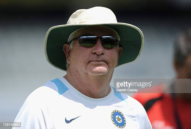 India coach Duncan Fletcher during a nets session at The Rajiv Gandhi International Cricket Stadium on October 13, 2011 in Hyderabad, India.
