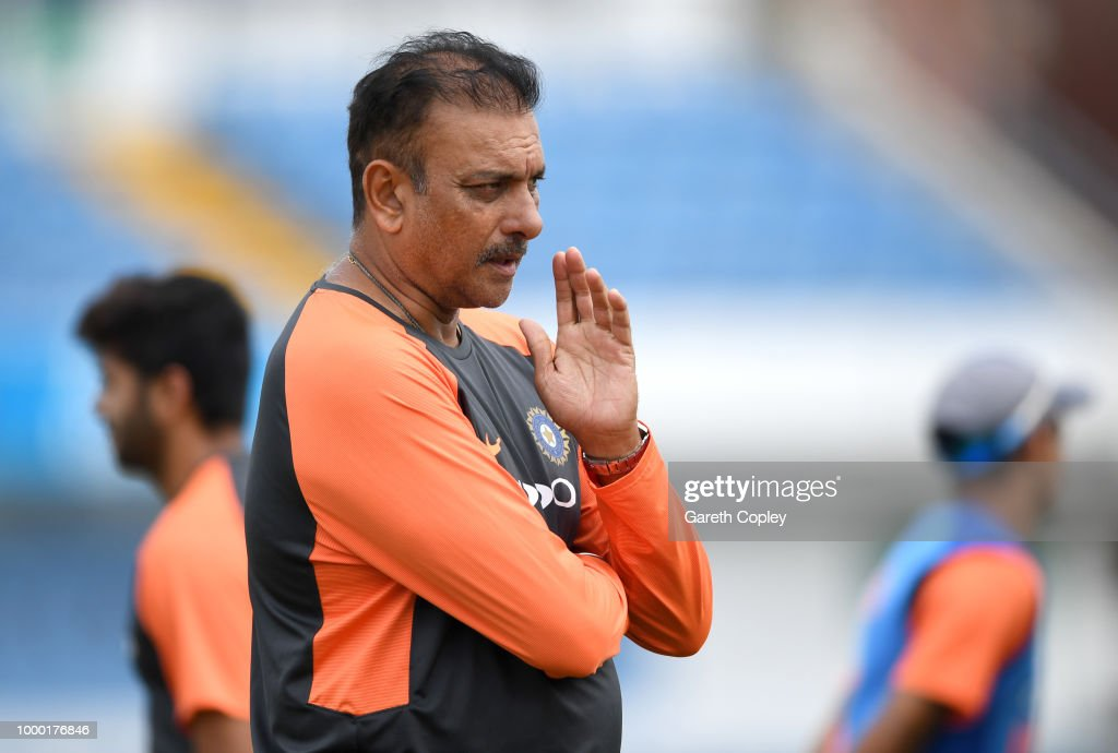 India coach Ravi Shastri during a net session at Headingley on July 16, 2018 in Leeds, England.