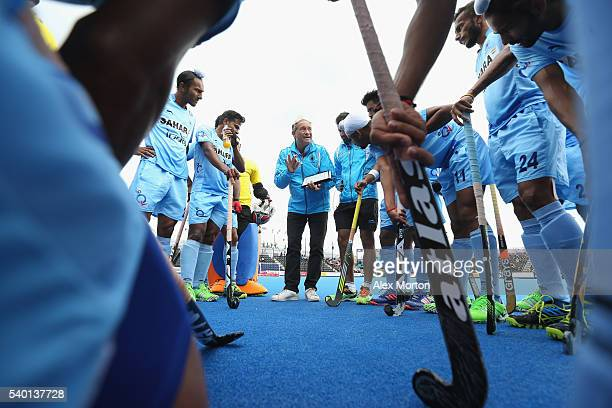 India coach Roelant Oltmans talks to his players at the first break during the FIH Mens Hero Hockey Champions Trophy match between India and South...