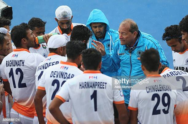 India coach Roelant Oltmans talks to his team during the FIH Mens Hero Hockey Champions Trophy match between Belgium and India at Queen Elizabeth...