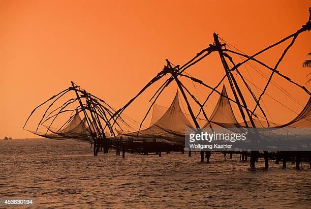 India Cochin Bay Chinese Fishing Nets Sunset