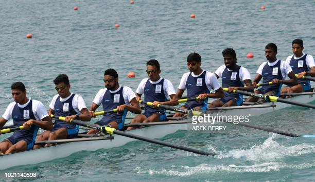 India compete in the men's lightweight eight repechages rowing event at the 2018 Asian Games in Palembang on August 22 2018
