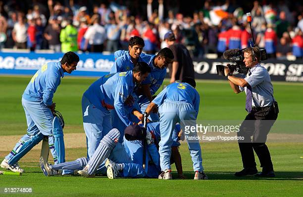 India Cricket Team celebrate winning the NatWest Series Final between England and India at Lord's London 13th July 2002 India won by two wickets