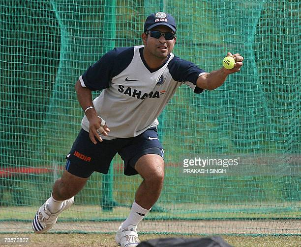 India Cricketer Sachin Tendulkar catches the ball during the training session Couva in Trinidad and Tobago 14 March 2007 India will play its first...