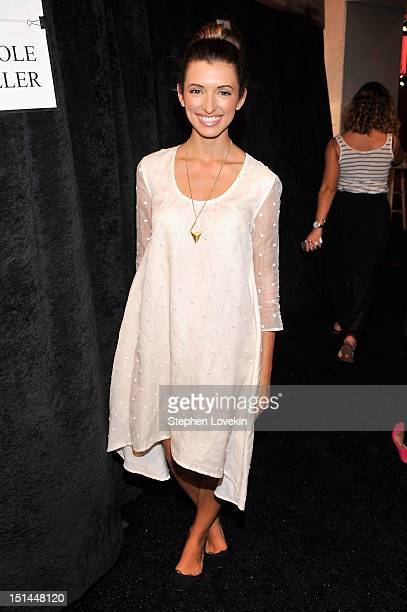 India de Beaufort poses backstage at the Noon By Noor Spring 2013 fashion show during MercedesBenz Fashion Week at The Studio at Lincoln Center on...