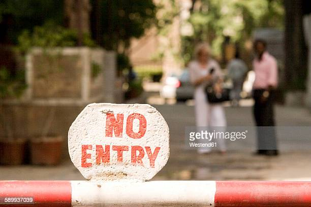 India, Dehli, No entry sign on barrier