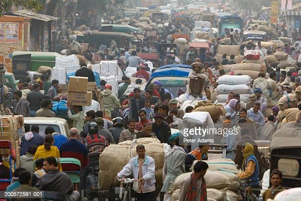 India, Delhi, Chandni Chowk market, elevated view