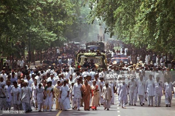 India Delhi funeral procession in of Rajiv Ghandi