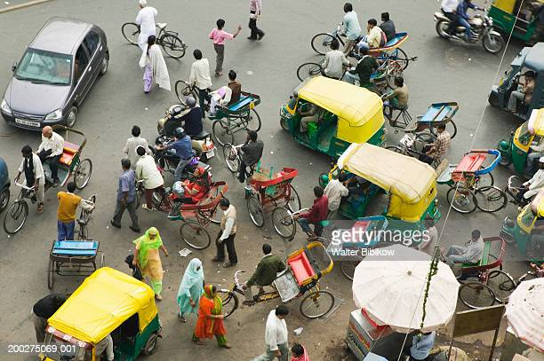 India, Delhi, Old Delhi, traffic on Chandi Chowk, elevated view