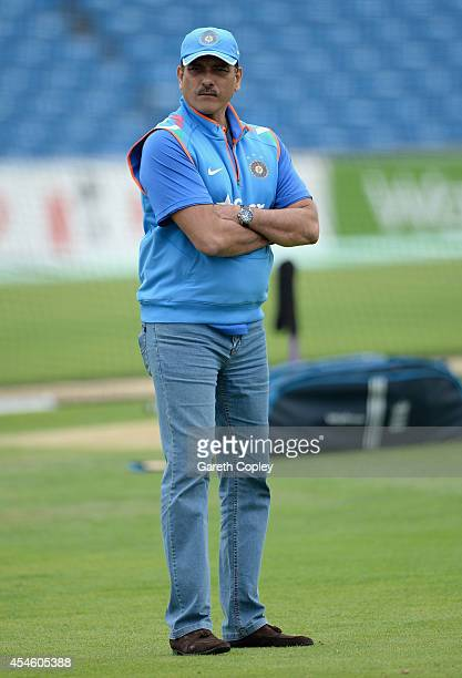 India Director of Cricket Ravi Shastri during a nets session at Headingley on September 4 2014 in Leeds England