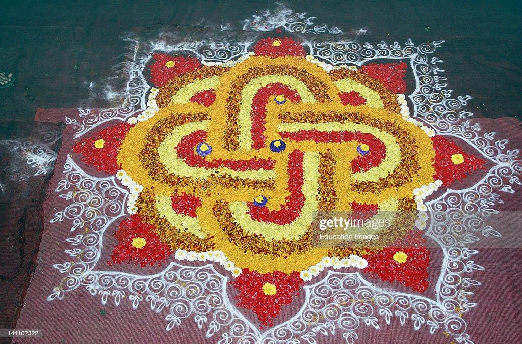 India, Diwali Deepawali Festival, Flower Rangoli Pattern. : News Photo