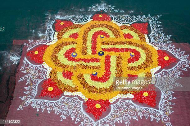 India Diwali Deepawali Festival Flower Rangoli Pattern