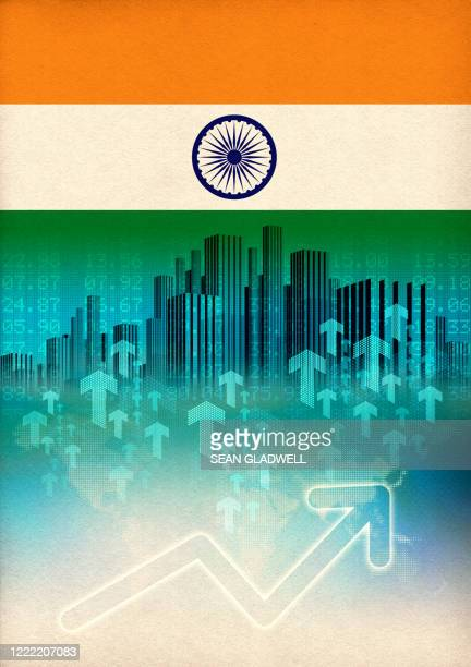 india economic growth illustration - india stock pictures, royalty-free photos & images