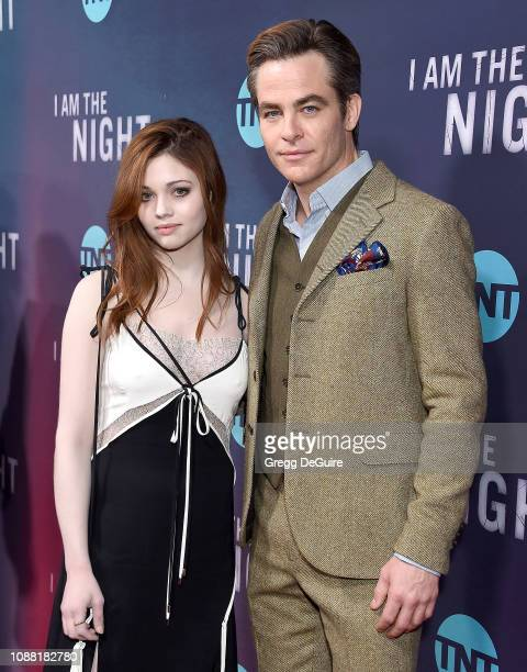 India Eisley and Chris Pine attend the Premiere Of TNT's I Am The Night at Harmony Gold on January 24 2019 in Los Angeles California