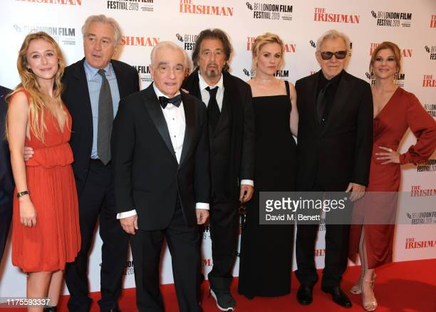 India Ennenga, Robert De Niro, Martin Scorsese, Al Pacino, Anna Paquin, Harvey Keitel and Stephanie Kurtzuba attend the International Premiere and...