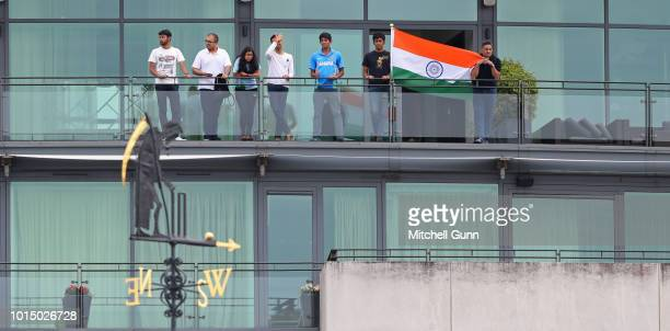 India fans behind Old Father Time during the day three of the Specsavers 2nd Test match between England and India at Lords Cricket Ground on August...