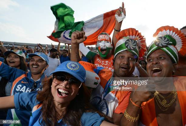 India fans celebrate during the 1st Royal London OneDay International between England and India on July 12 2018 in Nottingham England