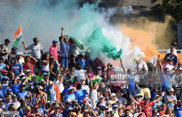 India fans celebrate during the 3rd Vitality International T20 match between England and India at The Brightside Ground on July 8 2018 in Bristol...