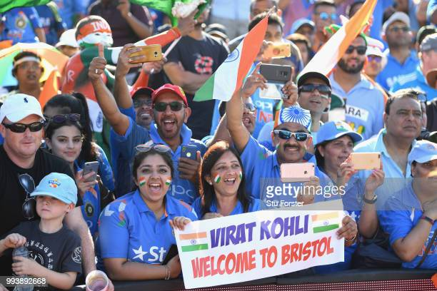 India fans celebrate victory after the 3rd Vitality International T20 match between England and India at The Brightside Ground on July 8 2018 in...