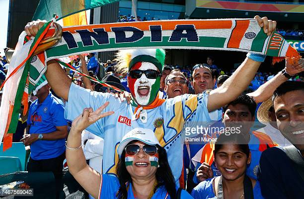 India fans cheer during the 2015 Cricket World Cup Semi Final match between Australia and India at Sydney Cricket Ground on March 26 2015 in Sydney...