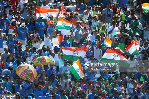 India fans cheer during the ICC Champions Trophy Final match between India and Pakistan at The Kia Oval on June 18 2017 in London England