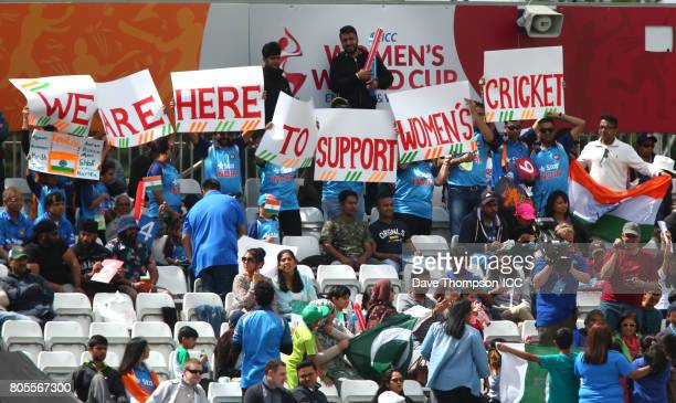 India fans during the ICC Women's World Cup match between India and Pakistan at The 3aaa County Ground on July 2 2017 in Derby England