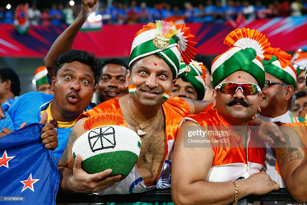 India fans during the ICC World Twenty20 India 2016 Group 2 match between New Zealand and India at the Vidarbha Cricket Association Stadium on March 15, 2016 in Nagpur, India.