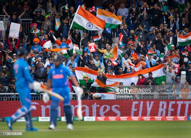 India fans enjoying the atmosphere during the Group Stage match of the ICC Cricket World Cup 2019 between Pakistan and India at Old Trafford on June...