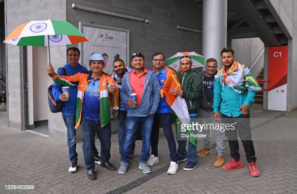 India fans pictured inside the stadium after the cancellation of the Test Match during day one of the Fifth Test Match between England and India at...
