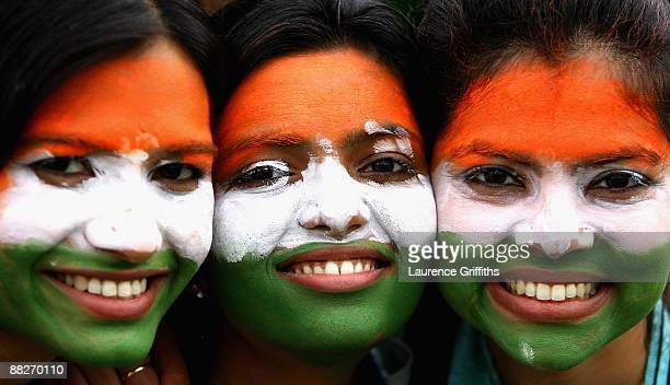 India Fans show their support during the ICC Twenty20 World Cup match between India and Bangladesh at Trent Bridge on June 6 2009 in Nottingham...