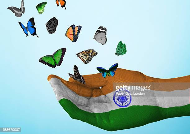 india flag painted on hand with butterflies - indian flag stock pictures, royalty-free photos & images