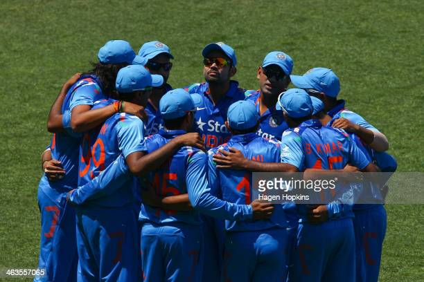 India form a team huddle during the first One Day International match between New Zealand and India at McLean Park on January 19 2014 in Napier New...