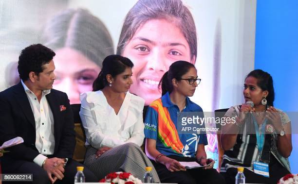 India former cricketer and UNICEF Goodwill Ambassador Sachin Tendulkar Indian women's cricket team captain Mithali Raj and Special Olympics athlete...