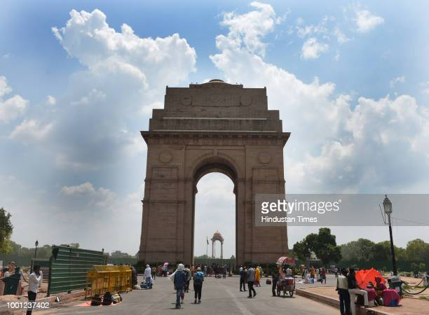 India Gate as seen on a cloudy day on July 18 2018 in New Delhi India