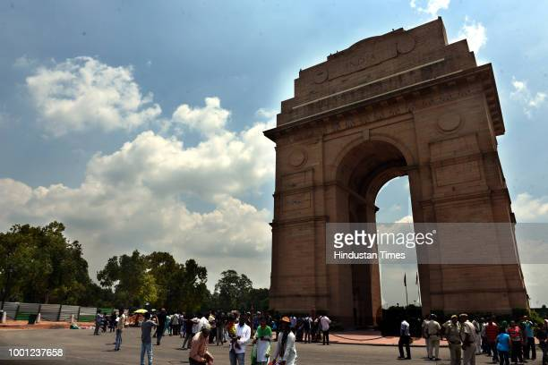 India Gate as seen on a cloudy day on July 18, 2018 in New Delhi, India.