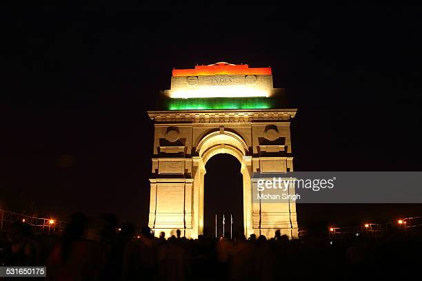 india gate at the night of independence day 2014 - india gate delhi stock pictures, royalty-free photos & images