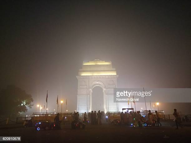 India Gate covered with smog after Diwali