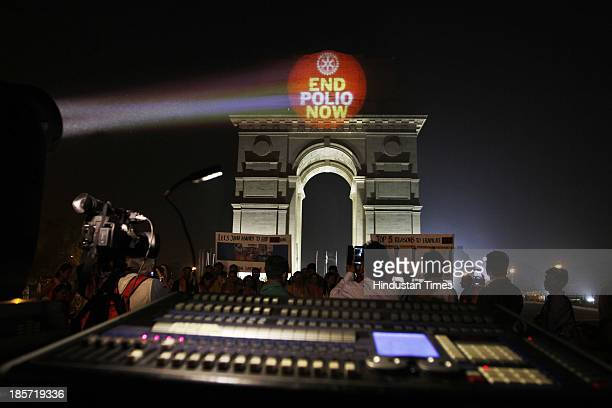 "India Gate illuminated with ""End Polio"" message on the eve of World Polio Day on October 24 2013 in New Delhi India Massive Polio eradication program..."