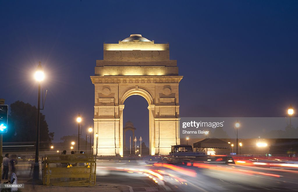 India Gate in New Delhi at night : Stock Photo