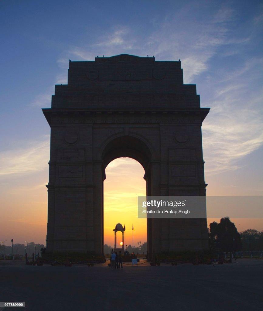 India Gate- Sunrise. : Stock Photo
